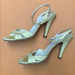 Burberry Shoes - Burberry Yellow Python Slingback Heels